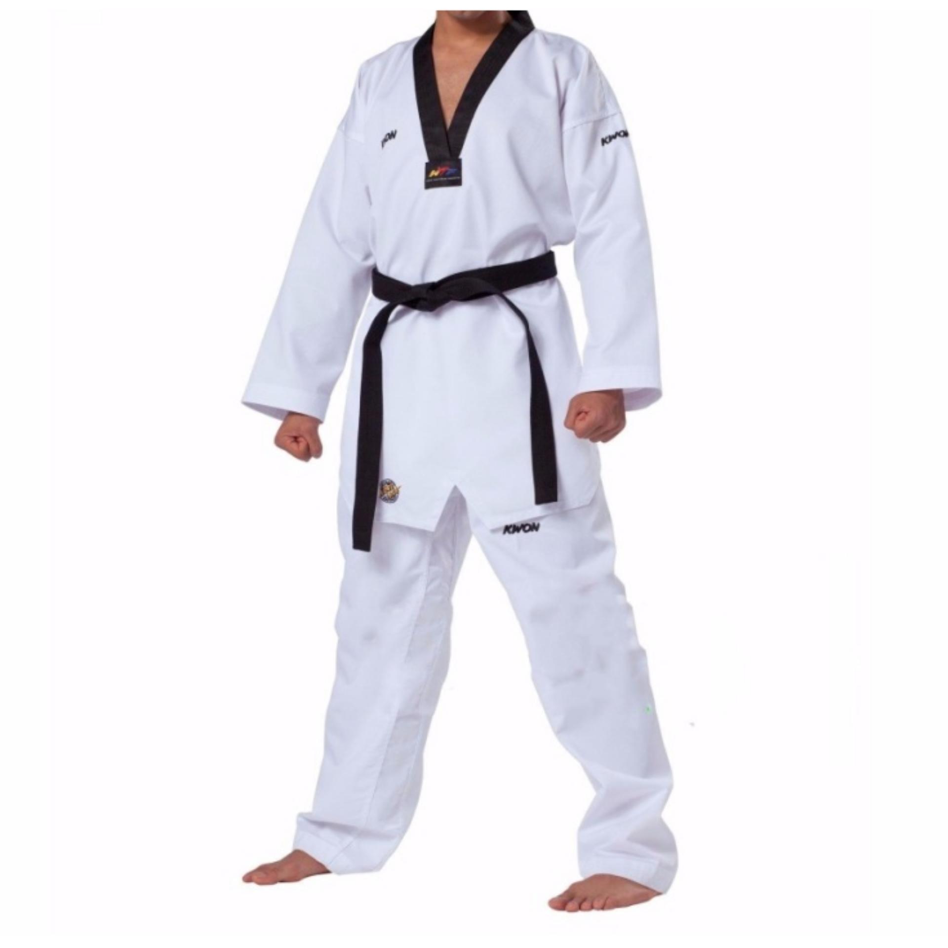 Quần áo võ phục Taekwondo KWON Fighter cổ đen