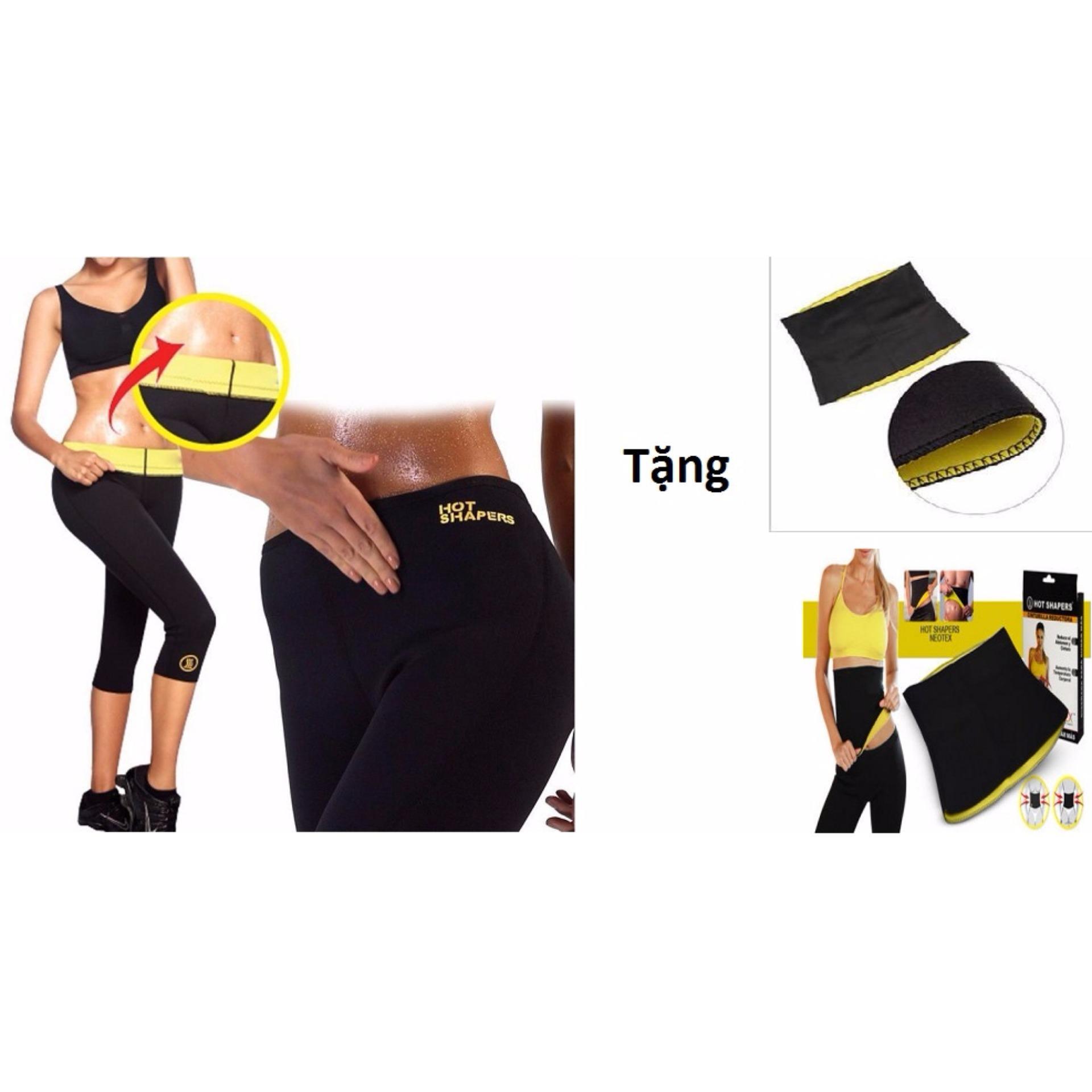 Quần thể dục sinh nhiệt giảm mỡ bụng đùi + Tặng Đai quấn nịt bụng eo thon size M