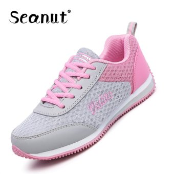 Seanut Woman Fashion Mesh Breathable Sprots Shoes Running Shoes(Grey) - intl
