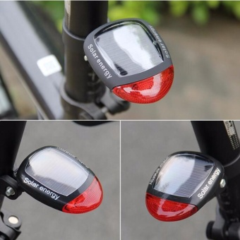 Solar Energy Bicycle Cycling Rear Tail LED Rechargeable LightWaterproof - intl