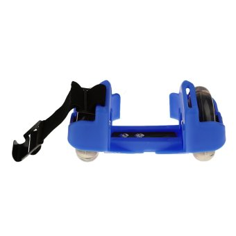 Sporting Pulley Heel Roller Skate Lighted Flashing Roller Skates+Free Protective Gear Sets(Blue) - intl