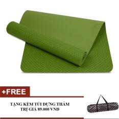 Thảm tập Gym cao cấp 8mm (Xanh lá cây) + tặng 1 túi đựng thảm