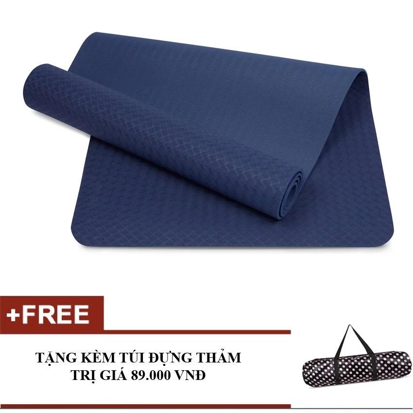 Thảm tập Gym và Yoga cao cấp 8mm (Xanh Navy) + tặng 1 túi đựng thảm