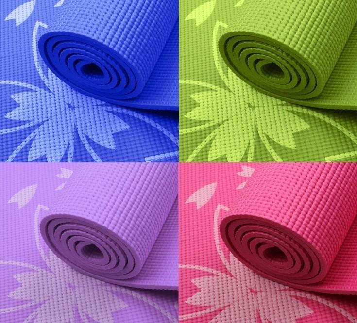 Thảm tập Gym và Yoga cao cấp hoa văn 6mm kèm túi đựng thảm (Hồng)