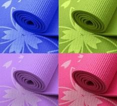 Thảm tập Gym và Yoga cao cấp hoa văn 6mm kèm túi đựng thảm (Xanh dương)