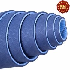Thảm tập yoga âu lạc GreenNetworks TPE 6mm 2 lớp kèm túi (Xanh coban) + Tặng chai xịt