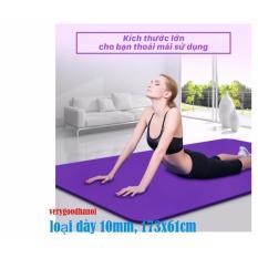 Thảm tập Yoga siêu bền loại dày 10mm (Tím) + túi đựng thảm