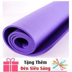 Thảm tập Yoga siêu bền loại dày 10mm TPE (Tím) CÓ TÚI ĐỰNG +TẶNG ĐÈN SIÊU SÁNG