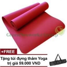 Thảm tập yoga siêu cao cấp tpe đúc 1 lớp GreenNetworks 8mm kèm túi (Đỏ)