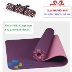 Thảm tập yoga TPE 2 lớp 6mm cao cấp (Tặng túi+Dây buộc)