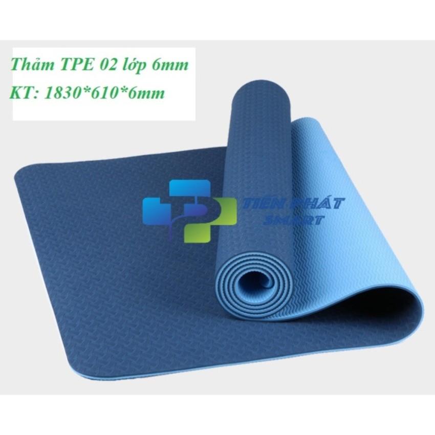 Thảm tập yoga TPE 2 lớp 6mm cao cấp (Xanh navy) TPS