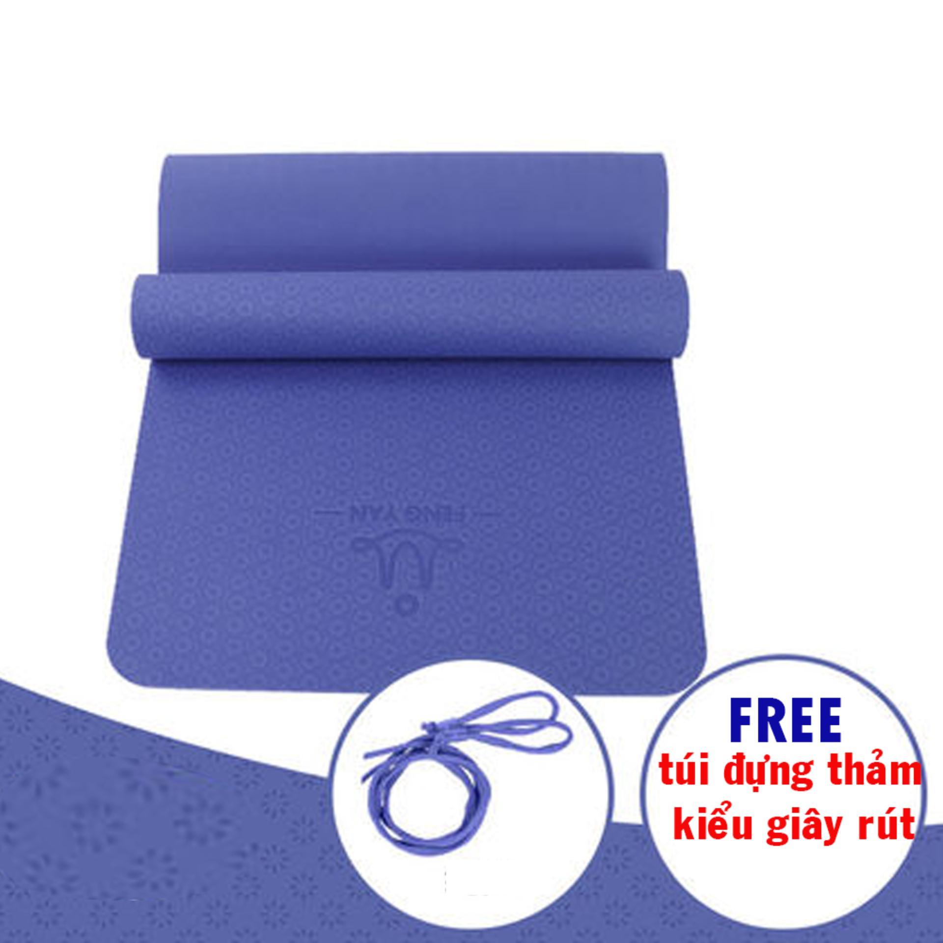 Thảm tập yoga TPE 8mm cao cấp kèm túi kiểu dây rút (Xanh coban)