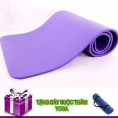 Thảm Tập Yoga TPE Siêu Bền Loại Dày 10mm (xanh tặng dây đeo)