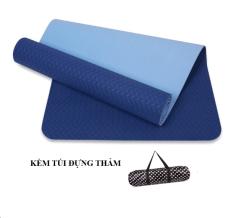 Thảm tập yoga Zeno TPE 2 lớp cao cấp kèm túi chống nước (Xanh dương)