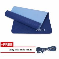 Thảm Tập Yoga Zeno Tpe 2 Lớp + Tặng Dây Buộc Thảm (xanh navy)