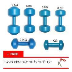 Trọn bộ tạ tay nhựa VN 1kg, 2kg, 3kg, 4kg, 5kg, 8kg (Tặng dây nhảy thể lực)