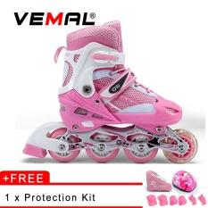 VEMAL Adult Children Inline Skate Roller Skating Shoes Adjustable Washable PVC Hard wheels One Front Wheel Flashing - intl