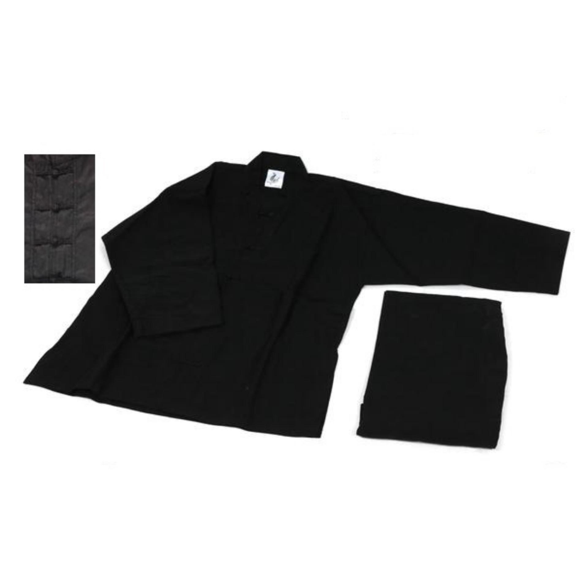 Võ phục quần áo kungfu màu đen vải kaki
