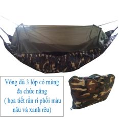 Võng mùng 3 lớp – cỡ lớn dài 2m45 – võng du lịch vải dù rằn ri có màn chống muỗi đốt