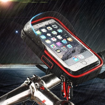Whyus-Waterproof MTB Bicycle Front Frame Moblie Phone Case Mount Holder Bag Pouch (Black&Red) - intl