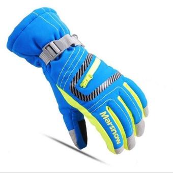 Windproof Waterproof Warming Ride Ski Glove Blue L - intl