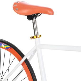 Xe đạp Fixed Gear Single Cổ sừng dê (Trắng phối cam)