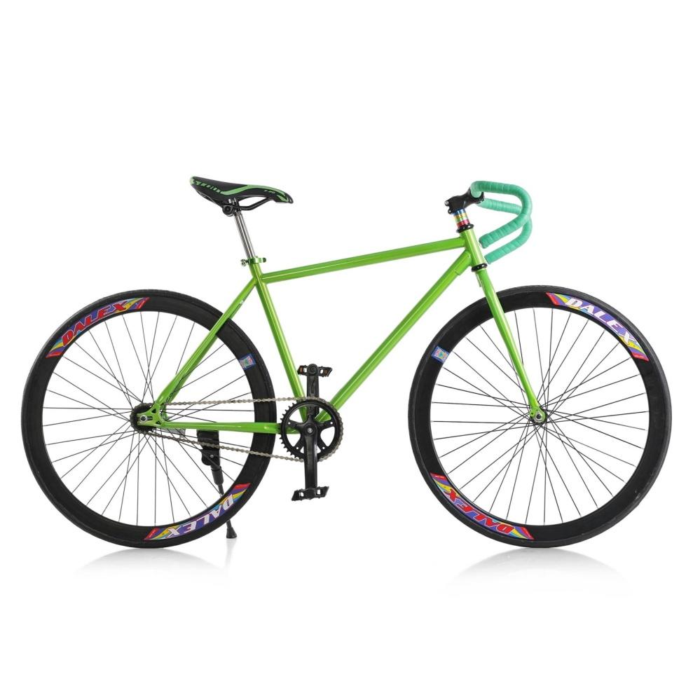 Xe đạp Fixed Gear Single Cổ sừng dê (Xanh lá phối đen)