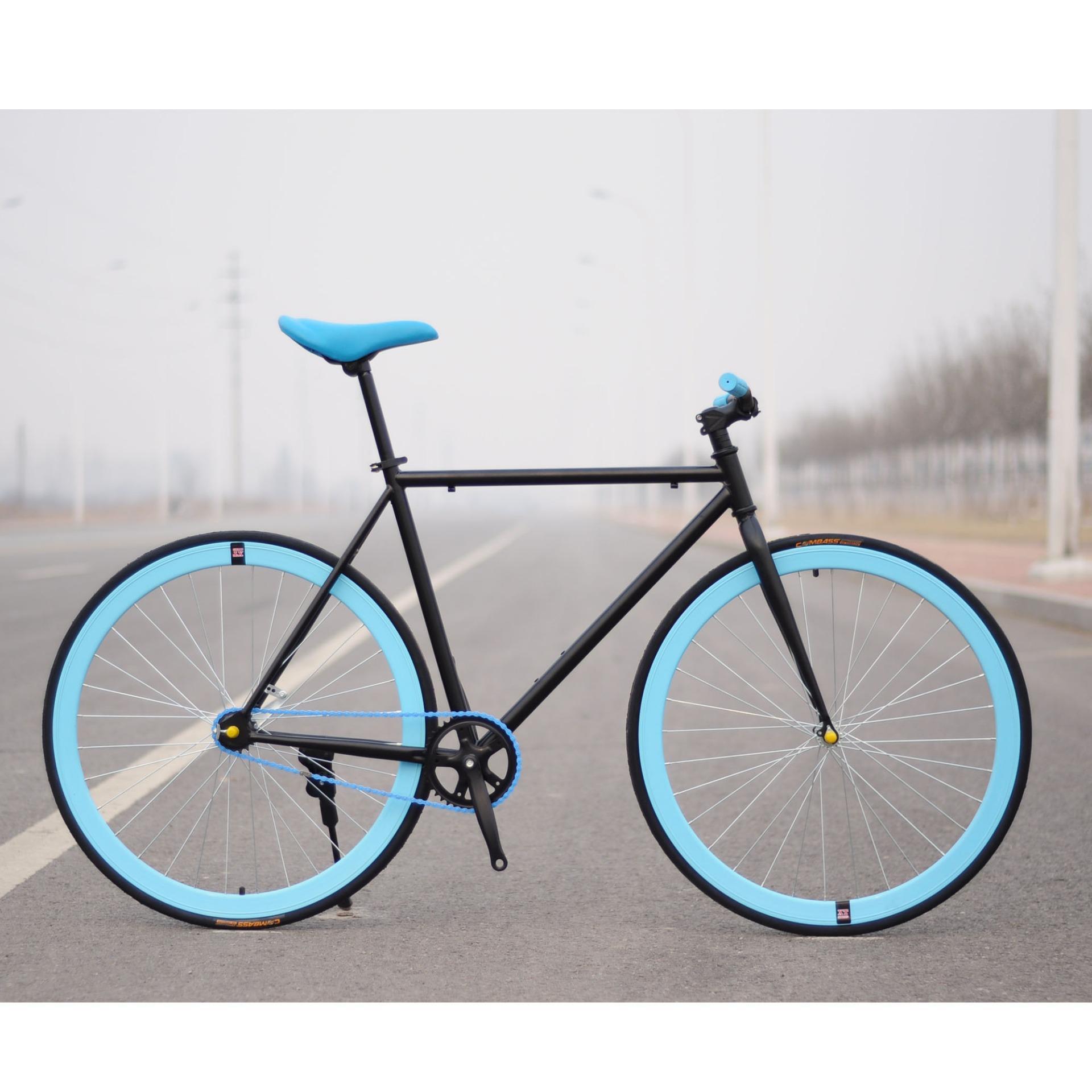 Xe đạp Fixed Gear Single Speed (Đen vành xanh trời)