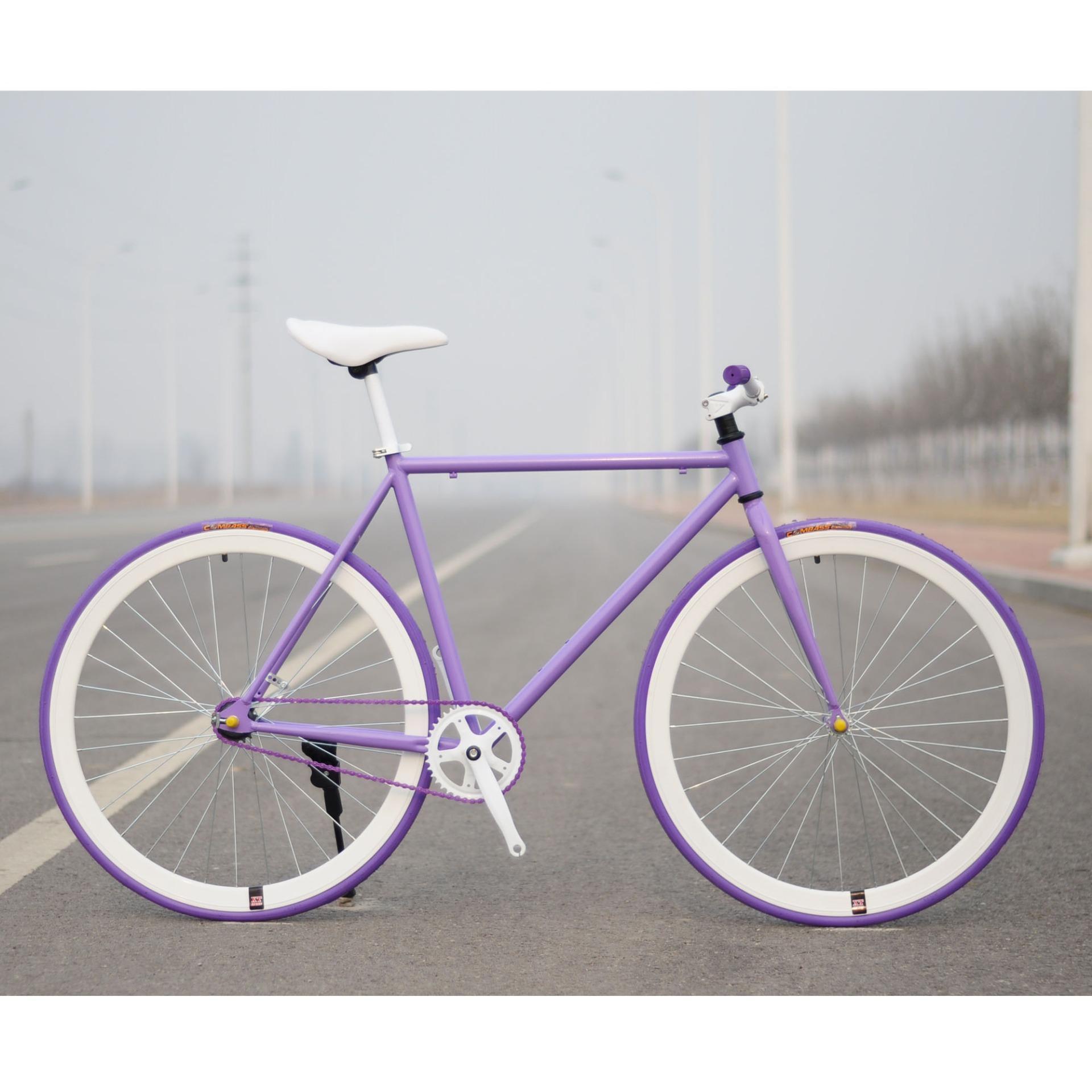 Xe đạp Fixed Gear Single Speed (Tím vành trắng)