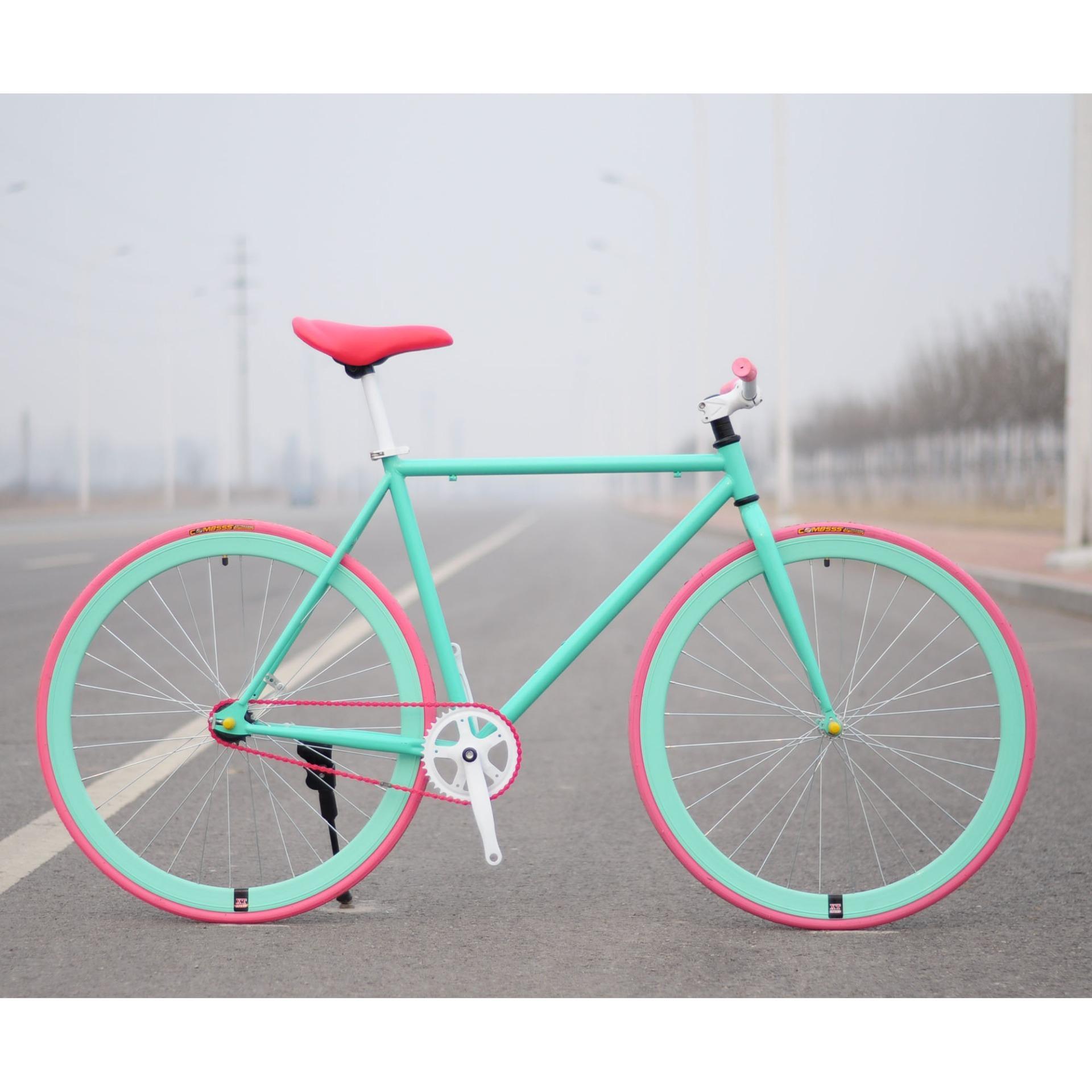 Xe đạp Fixed Gear Single Speed (Xanh ngọc lốp hồng)