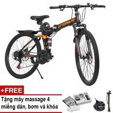 Xe đạp gấp địa hình AfterWard (đen) + Tặng vật lý trị liệu 4 miếng dán, 01 khóa chống trộm và bơm xe