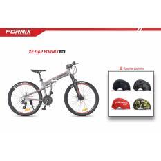 Xe đạp gấp địa hình thể thao Fornix F3 (xám đỏ)+ tặng nón bảo hiểm
