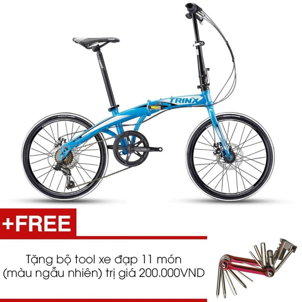 Xe đạp gấp TRINX DOLPHIN1.0 2016 (Xanh dương trắng) + Tặng 1 bộ Tool xe đạp 11 món màu sắc ngẫu nhiên