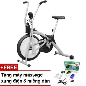 Xe đạp tập thể dục Air Bike (Xám) + Tặng vật lý trị liệu 8 miếngdán