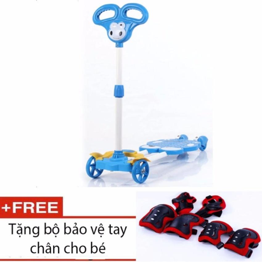 Xe trượt Scooter 4 bánh cho bé (Xanh dương) + tặng kèm bộ bảo vệ tay chân cho bé