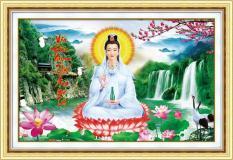 Tranh thêu chữ thập 3D Phật Bà Quan Âm tượng trưng cho tâm hạnh từ bi đem lại sự an vui cho gia đình bạn 88966 – Kích thước: 59x40cm