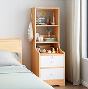 Tủ đầu giường – kệ đầu giường – tủ kệ đầu giường 2 ngăn kéo 3 kệ kèm móc treo quần áo