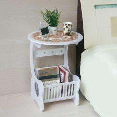 Kệ Gỗ, Kệ tròn, kệ bàn tròn, Kệ đầu giường Bàn tròn gỗ có kệ để sách đa năng màu trắng
