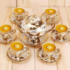 Bộ trà nhũ vàng cao cấp,Bộ trà 14 món gồm tách dĩa ly, Bộ trà làm quà tặng cao cấp