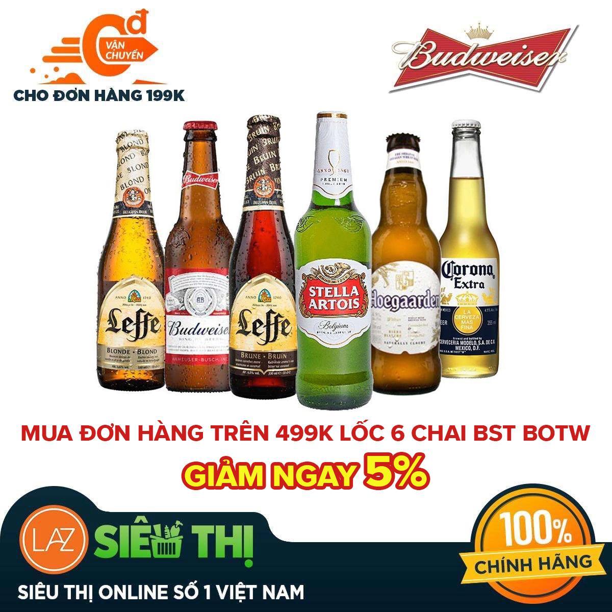 [Siêu thị Lazada] - Bộ sưu tập bia cao cấp Beers of the World 6 chai - Budweiser, Leffe Blonde,...