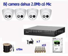 Trọn bộ 4 camera cao cấp Dahua 1200EMP-A-S4 tích hợp MIC ghi âm thanh + hình ảnh rõ nét + Đầy đủ phụ kiện lắp đặt kèm theo