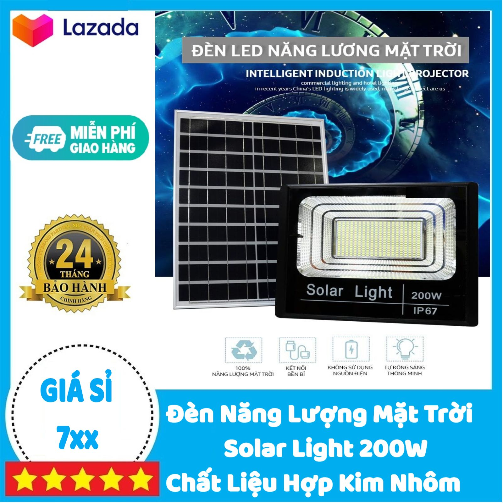 Đèn Năng Lượng Mặt Trời 200W Solar Light - Hợp Kim Nhôm | BẢO HÀNH 2 NĂM | Sản phẩm...