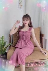 Bộ mặc nhà nữ kiểu lửng áo 2 dây bản to form chuẩn đẹp,vải kate lụa mềm mát