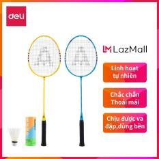 DELI Vợt cầu lông gồm 2 vợt+bao đựng vợt+3 quả cầu Xanh,Vàng – 1 bộ WF2101