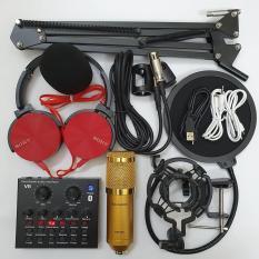 combo Bộ Míc Thu Âm Livestream Hát Karaoke Online Micro ZANGSONG BM-900 CARD V8 Bluetooth Tặng Tai 450 Chân Kep Màng BH 6 tháng 1 đổi 1