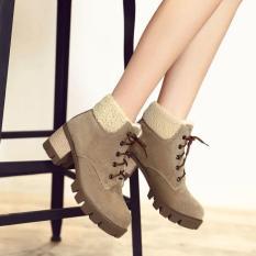 Bốt nữ cổ ngắn lót lông mùa đông Giày Bốt Nữ cột dây Da Lộn, cổ chân giày bằng lông rất êm chân và ấm Cực Chất Gót đế vuông Cao 6cm B134