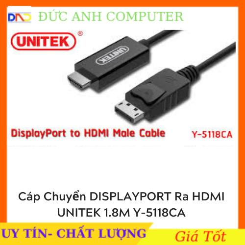 [Nhập NEWSELLERW503 giảm 10% tối đa 100K] Cáp chuyển Displayport to HDMI 1M5 Unitek Y – 5118Ca – full Box – chính hãng 100% – bảo hành 12 tháng
