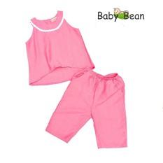 Bộ Đũi Áo Vạt Hớt Quần Lửng Bé Gái BabyBean