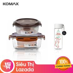 [Voucher freeship 30k] Combo 2 hộp thủy tinh Komax Glass Lock (340 ml – 59074320 ml – 59281) – Tặng Bình nước nhựa rỗng Komax 550ml 20471