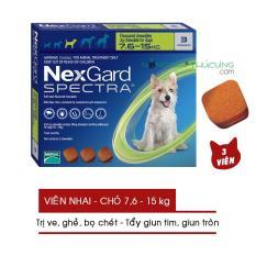 Thuốc nhai NexGard SPECTRA (01 Hộp) Trị Ve, Ghẻ, Bọ chét và Tẩy Giun Trên Chó (7.6-15kg) – Nông Trại Thú Cưng